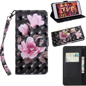 Light Spot Decor Patterned Wallet Leather Case with Stand for Xiaomi Redmi 6A - Pink Flowers