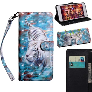 Light Spot Decor Patterned Wallet Leather Cover with Stand for Xiaomi Redmi 6A - Tiger