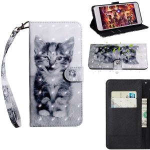Light Spot Decor Patterned Leather Stand Case with Card Slots for Xiaomi Redmi 6A - Lovely Cat