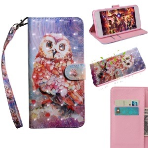 Light Spot Decor Patterned Magnetic Leather Stand Cover for Xiaomi Mi A2 Lite / Redmi 6 Pro (China) - Owl