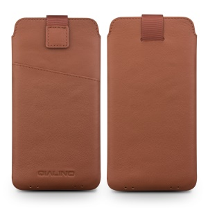 QIALINO Genuine Leather Pouch Accessory for Xiaomi mi 5S/ 5S Plus, Size: 166 x 88mm - Brown