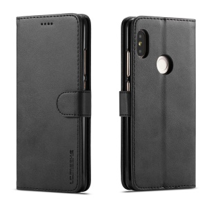 LC.IMEEKE Wallet Leather Stand Cover for Xiaomi Redmi Note 6 Pro - Black