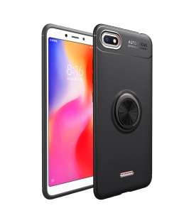 LENUO Finger Ring Kickstand TPU Back Case for Xiaomi Redmi 6A (Built-in Magnetic Holder Metal Sheet) - All Black