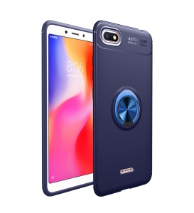 LENUO Finger Ring Kickstand TPU Accessory Shell for Xiaomi Redmi 6A (Built-in Magnetic Holder Metal Sheet) - Blue