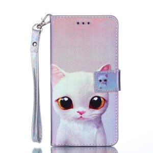 [Laser Carving] Patterned Leather Mobile Phone Case for Xiaomi Redmi 6 - White Cat