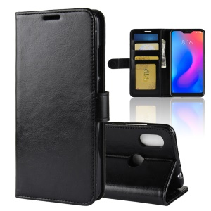 Crazy Horse Wallet Stand Leather Case for Xiaomi Redmi Note 6 Pro - Black