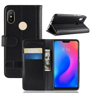 Split Leather Protection Case [Stand Wallet] for Xiaomi Mi A2 Lite / Redmi 6 Pro - Black