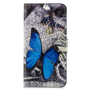 Pattern Printing Leather Card Slots Stand Folio Shell Case for Xiaomi Mi 8 Lite / Mi 8 Youth (Mi 8X) - Blue Butterfly