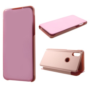 View Window Plated Mirror Surface Leather Stand Cover for Xiaomi Mi Mix 3 / Mix 3 5G - Rose Gold
