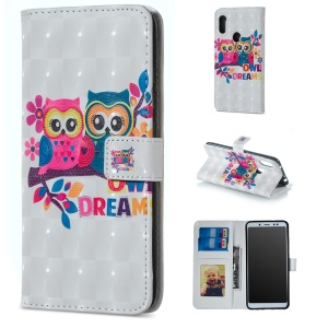 Light Spot Decor Patterned Embossed Leather Wallet Case for Xiaomi Redmi Note 6 Pro - Owls