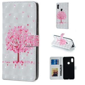 Light Spot Decor Patterned Embossed Leather Wallet Cover for Xiaomi Redmi Note 6 Pro - Flowered Tree