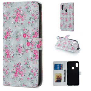 Light Spot Decor Patterned Embossed Leather Wallet Case Cover for Xiaomi Redmi Note 6 Pro - Vivid Flowers