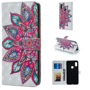 Light Spot Decor Patterned Embossed Leather Wallet Shell for Xiaomi Redmi Note 6 Pro - Colorful Flower