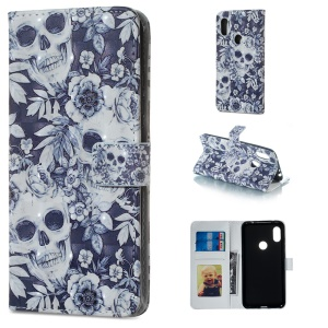 Light Spot Decor Patterned Embossed Leather Wallet Stand Case for Xiaomi Redmi Note 6 Pro - Skull
