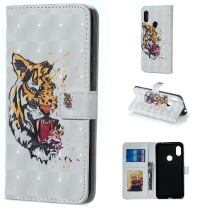Light Spot Decor Patterned Embossed Wallet Leather Stand Case for Xiaomi Redmi Note 6 Pro - Tiger