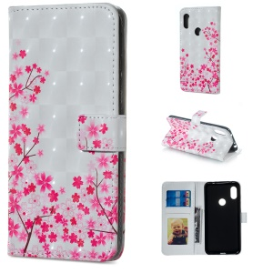 Light Spot Decor Patterned Embossed Wallet Leather Stand Cover for Xiaomi Redmi Note 6 Pro - Blooming Flowers