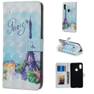 Light Spot Decor Patterned Embossed Wallet Leather Cell Phone Case for Xiaomi Redmi Note 6 Pro - Eiffel Tower