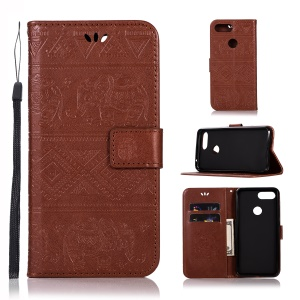 Imprinted Elephant Leather Cell Phone Cover for Xiaomi Mi 8 Lite / Mi 8 Youth (Mi 8X) - Brown