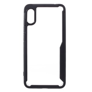 Silicone Frame + Transparent Acrylic Back Hybrid Mobile Case for Xiaomi Redmi Note 6 Pro - Black
