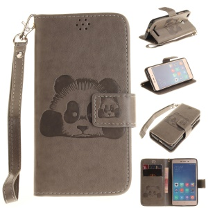 Imprinted Panda Leather Wallet Cover with Strap for Xiaomi Redmi 3s - Grey