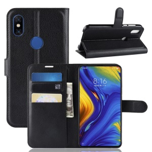Litchi Skin Wallet Leather Stand Case for Xiaomi Mi Mix 3 / Mix 3 5G - Black