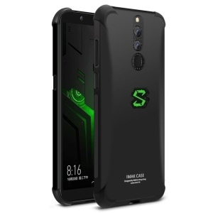 IMAK Skin Feel Airbag Shockproof TPU Back Cover + Screen Protector Film for Xiaomi Black Shark Helo - Metal Black