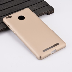 Wrapped Edges Rubber Coating Plastic Shell for Xiaomi Redmi 3s / Redmi 3x - Gold