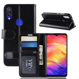 Crazy Horse PU Leather Stand Wallet Flip Case for Xiaomi Redmi Note 7 - Black