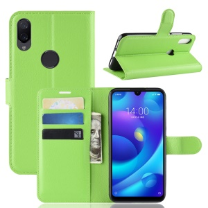 Litchi Skin Magnetic Leather Stand Case for Xiaomi Mi Play - Green