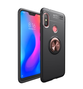 Finger Ring Kickstand TPU Shell (Built-in Magnetic Metal Sheet) for Xiaomi Mi Play - Black / Rose Gold