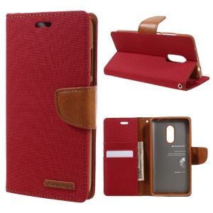 MERCURY GOOSPERY Canvas Leather Card Holder Case for Xiaomi Redmi Note 4 - Red
