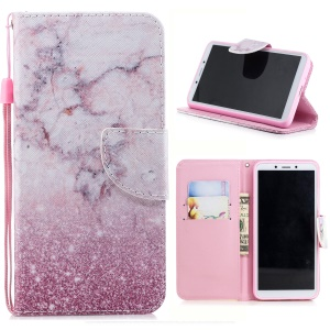 Pattern Printing Cross Texture Leather Wallet Case for Xiaomi Redmi 6A (Single 12MP Rear Camera) - Pink Marble