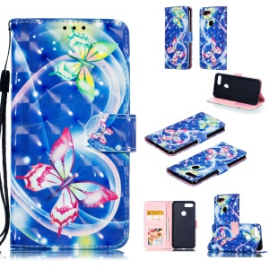 Pattern Printing Light Spot Decor Leather Wallet Case for Xiaomi Mi 8 Lite / Mi 8 Youth (Mi 8X) - Vivid Butterfly