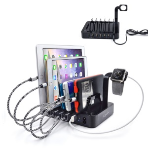 ZUOJIAMAN 50W 6-Port USB Charging Station with Fast Charging for Phone Tablet - Black / US Plug