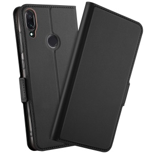 Magnetic Adsorption Leather Flip Stand Case with Card Holder for Xiaomi Redmi Note 7 - Black