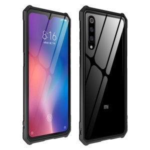Hard Phone Case for Xiaomi Mi 9 Metal Frame + Glass Back Phone Shell - Black