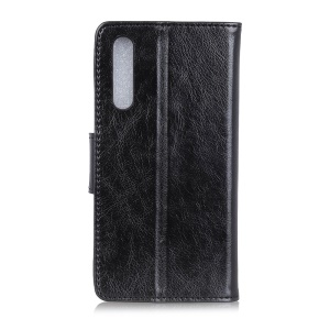 Textured Split Leather Wallet Magnetic Case for Xiaomi Mi 9 - Black