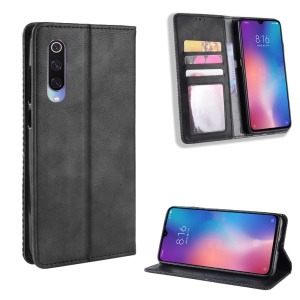 Vintage Style PU Leather Wallet Phone Case for Xiaomi Mi 9 - Black