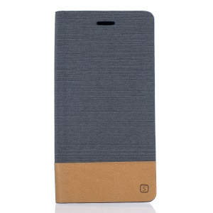 Two-color Line Texture Leather Stand Cover for Xiaomi Mi Max - Dark Grey