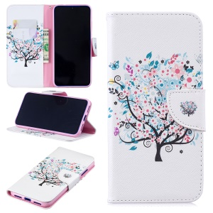 Pattern Printing PU Leather Folio Flip Phone Cover for Xiaomi Redmi Note 7S /Note 7 - Flowered Tree