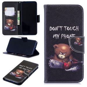Pattern Printing PU Leather Folio Flip Phone Cover for Xiaomi Redmi Note 7S /Note 7 - Bear And Its Warnings