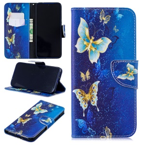 Pattern Printing Leather Wallet Case for Xiaomi Redmi Note 7 / Note 7 Pro (India) - Butterfly Pattern