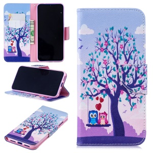 Pattern Printing Leather Wallet Case for Xiaomi Redmi Note 7 / Note 7 Pro (India) - Tree and Owls