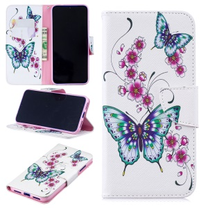 Pattern Printing Leather Wallet Case for Xiaomi Redmi Note 7 / Note 7 Pro (India) - Butterfly and Flower