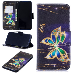 Pattern Printing Leather Wallet Case for Xiaomi Redmi Note 7 / Note 7 Pro (India) - Colorized Butterfly