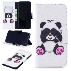 Pattern Printing Leather Wallet Case for Xiaomi Redmi Note 7 / Note 7 Pro (India) - Cute Panda