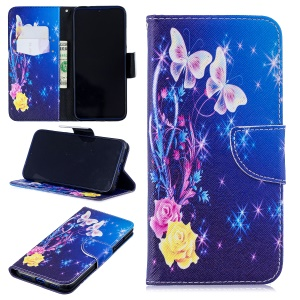 Pattern Printing Leather Wallet Case for Xiaomi Redmi Note 7 / Note 7 Pro (India) - Elegant Butterflies