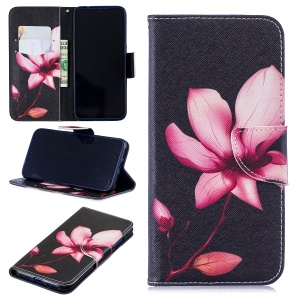 Pattern Printing Leather Wallet Case for Xiaomi Redmi Note 7 / Note 7 Pro (India) - Flower Pattern