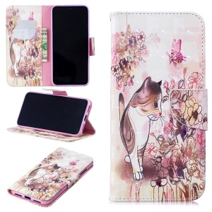 Pattern Printing Light Spot Decor Leather Wallet Case for Xiaomi Redmi Note 7 / Note 7 Pro (India) - Cat and Flowers