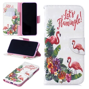 Pattern Printing Light Spot Decor Leather Wallet Case for Xiaomi Redmi Note 7 / Note 7 Pro (India) - Flamingo